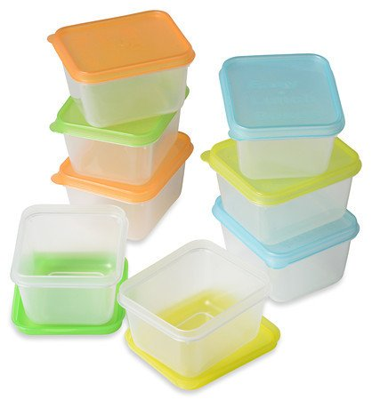 An assortment of mini plastic containers