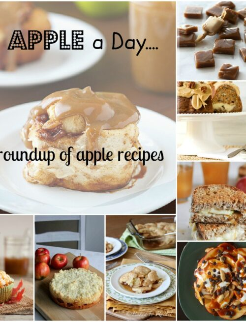 A grid of pictures displaying a variety of desserts made with apple