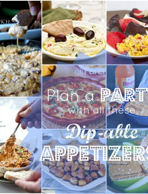 "A grid of 9 pictures with a variety of party food titled, "" Plan a Party with all these Dip-able Appetizers"""