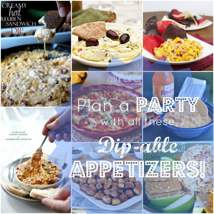 """A grid of 9 pictures with a variety of party food titled, \"""" Plan a Party with all these Dip-able Appetizers\"""""""