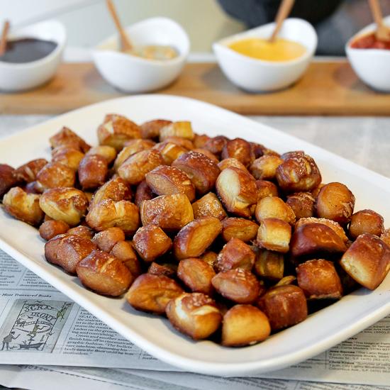 A large serving tray of pretzel bites