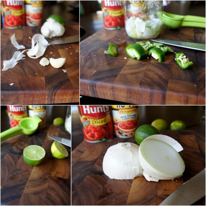 A grid of pictures demonstrating what ingredients are needed to make Quick and Easy Mason Jar salsa