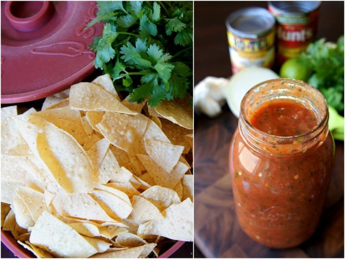 A close up fo a bowl of chips on the left and a mason jar full of salsa on the right