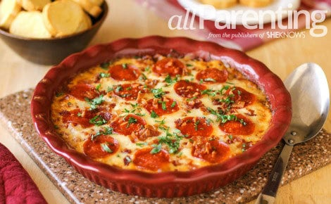 A large dish with Meat Lovers Pizza Dip