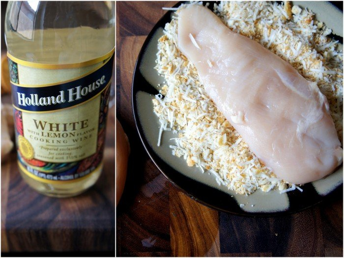 Two pictures demonstrating how to make the crust for the chicken