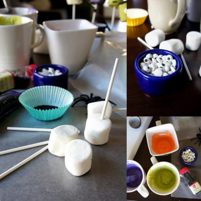 A grid of three pictures demonstrating items needed to make Halloween themed marshmallow pops