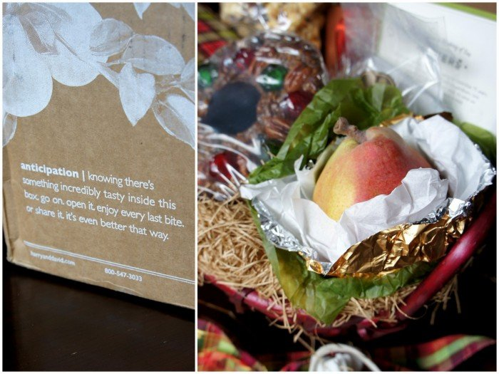 A picture showing the quality of a golden wrapped pear from Harry & David