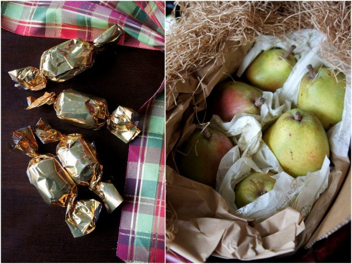 Displaying more contents and pears included in a Harry & David gift basket