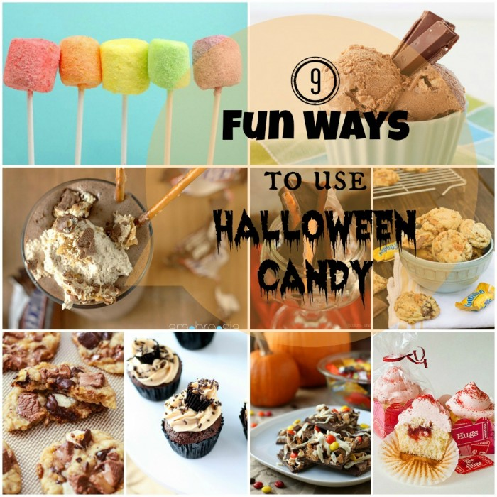 """A grid of 9 Halloween themed foods with the title \""""9 Fun Ways to Use Halloween Candy\"""""""