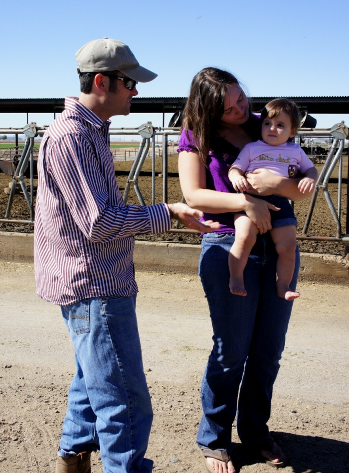 Wes Kerr and his wife and daughter at Kerr Dairy Farm in Arizona