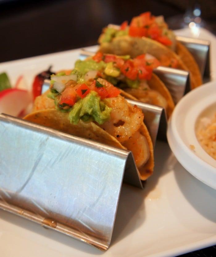 A display of three tacos