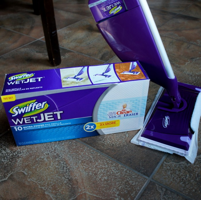 A close up of a Swiffer Wet Jet and pads