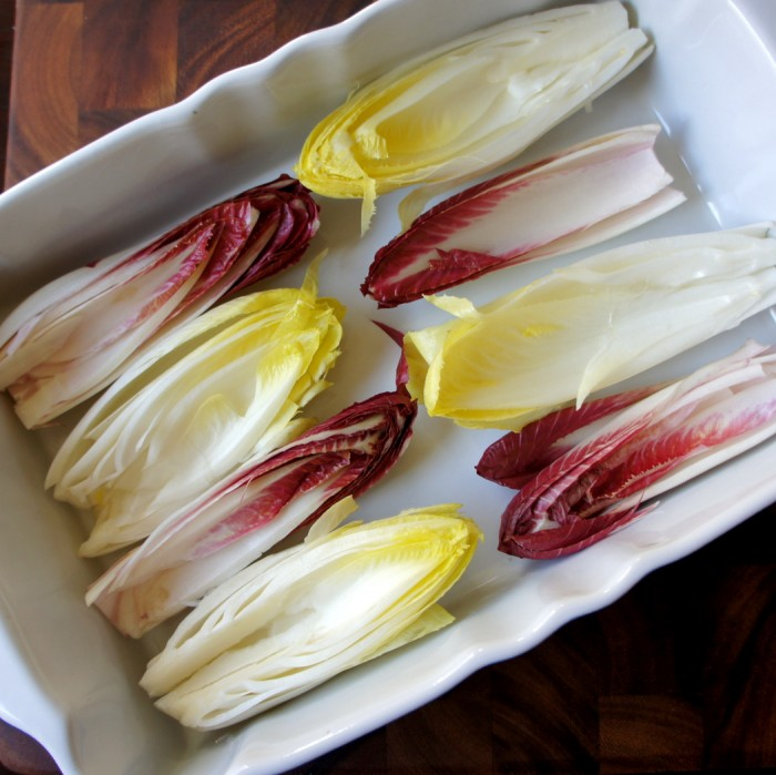 Endives laid out in a pan