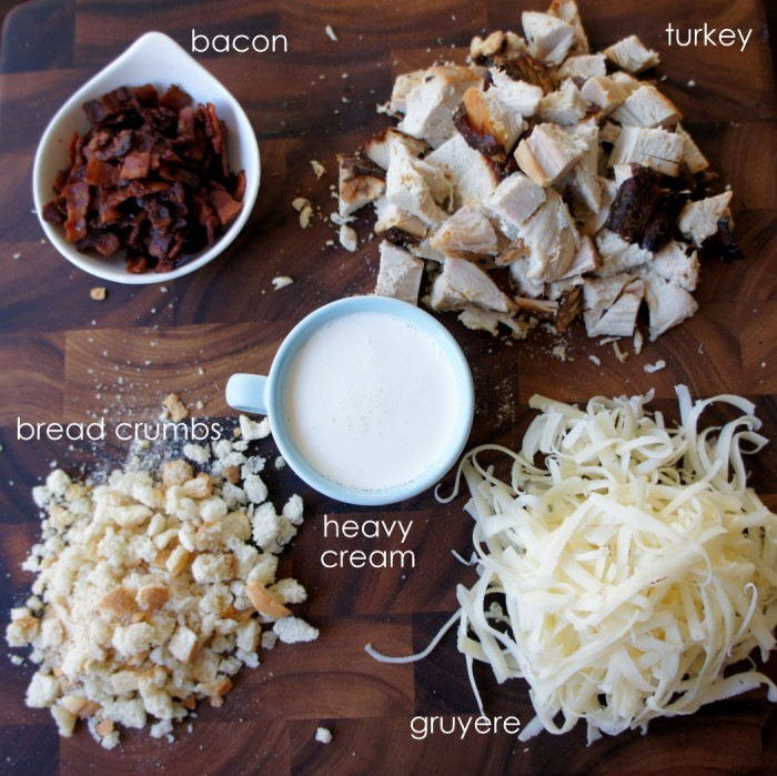 A display of measured ingredients needed to make Turkey and Bacon Stuffed Endives