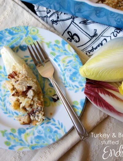 An endive stuffed with turkey and bacon