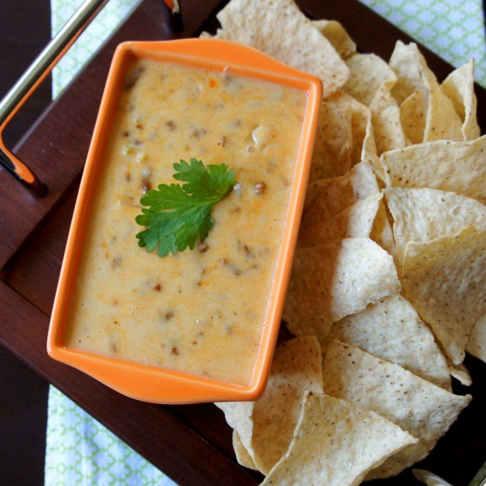 A look down on a small bowl of cheese dip with a side of chips