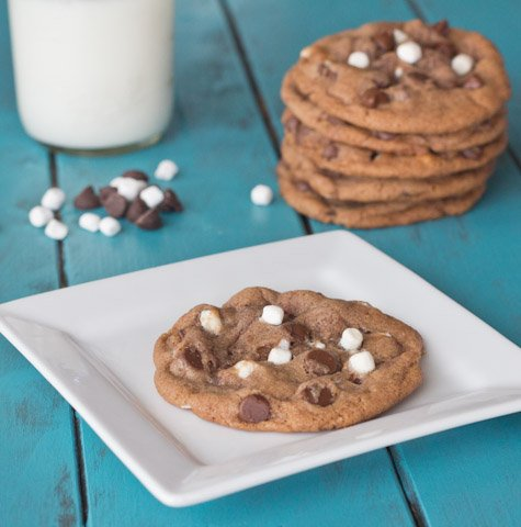 A plate with a hot chocolate cookie with a stack of cookies behind it