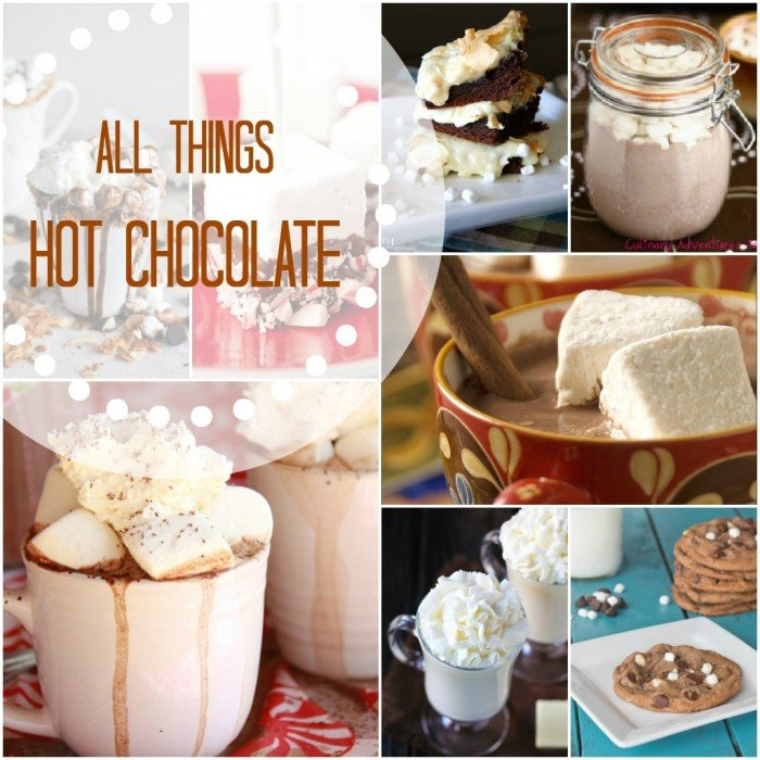 """A grid of hot chocolate based dessert pictures titled, \"""" All Things Hot Chocolate\"""""""