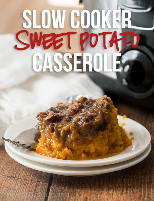 This Crock Pot Sweet Potato Casserole is the perfect way to free up oven space and make a delicious Thanksgiving side dish!