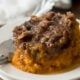 OMG! This Crock Pot Sweet Potato Casserole was SO EASY to make and everyone raved about how delicious it was!