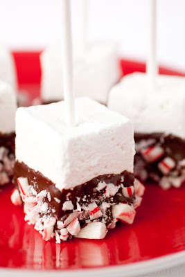A square marshmallow pop dipped in chocolate and crushed peppermint candy