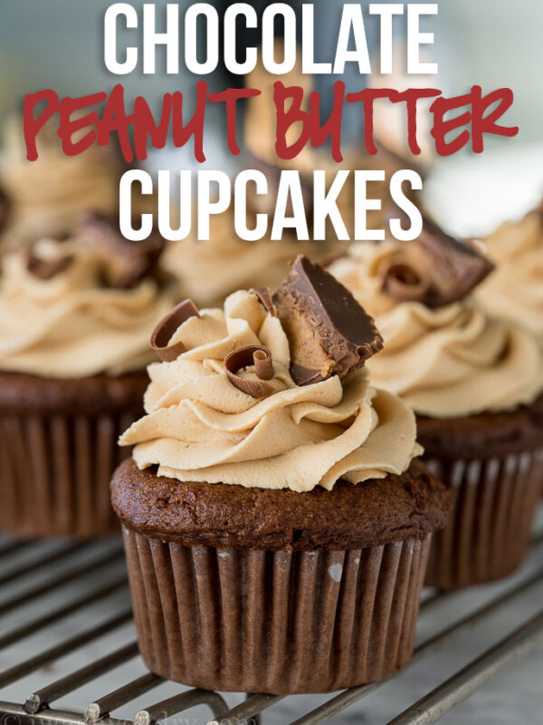 These Chocolate Peanut Butter Cupcakes with Peanut Butter Buttercream Frosting are filled with a surprise center that's sure to make you smile!