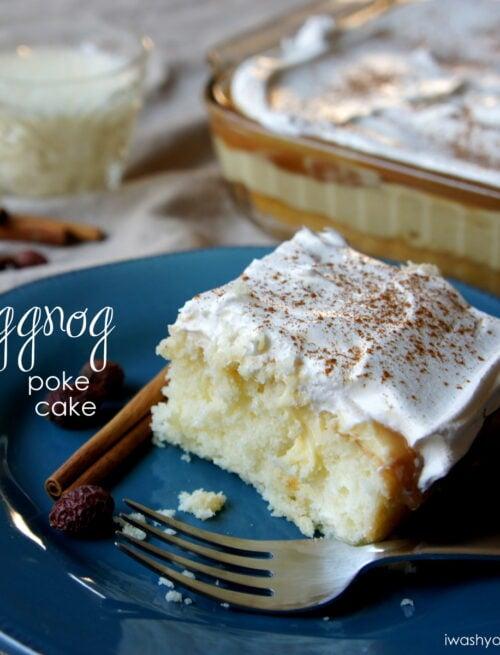 A piece of Eggnog Poke Cake on a plate
