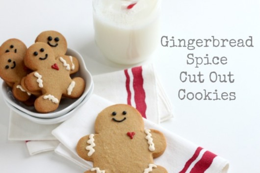 A decorated Gingerbread Spiced Cut Out Cookie on a table