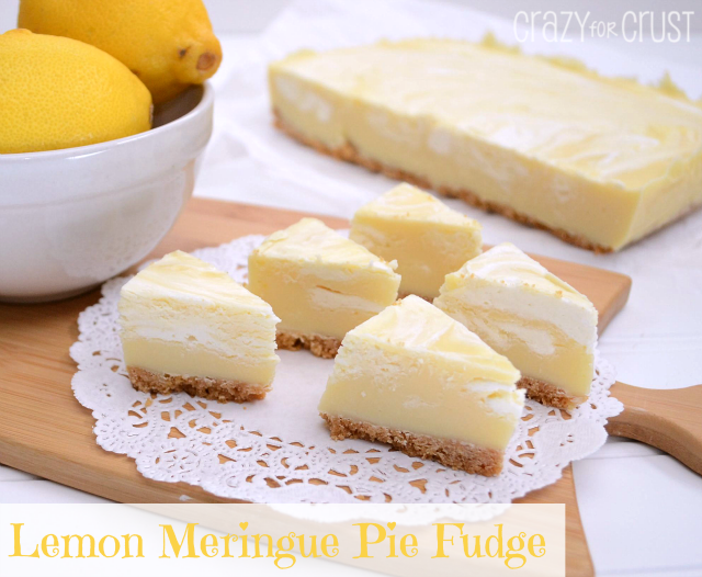 Lemon Pie Fudge cut to look like. mini pie slices displayed on a doily on a table