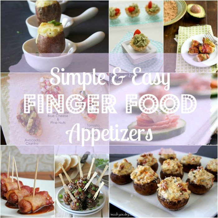 """A grid of food pictures with the title \""""Simple & Easy FINGER FOOD Appetizers\"""""""