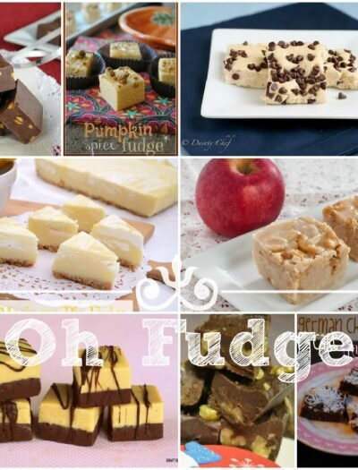 """A gird of a variety of pictures of fudge titled, """"Oh Fudge!"""""""
