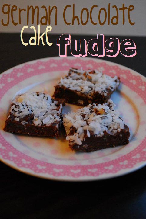 A plate of German Chocolate Cake Fudge squares