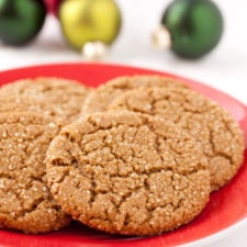 A close up of a plate with ginger cookies on it