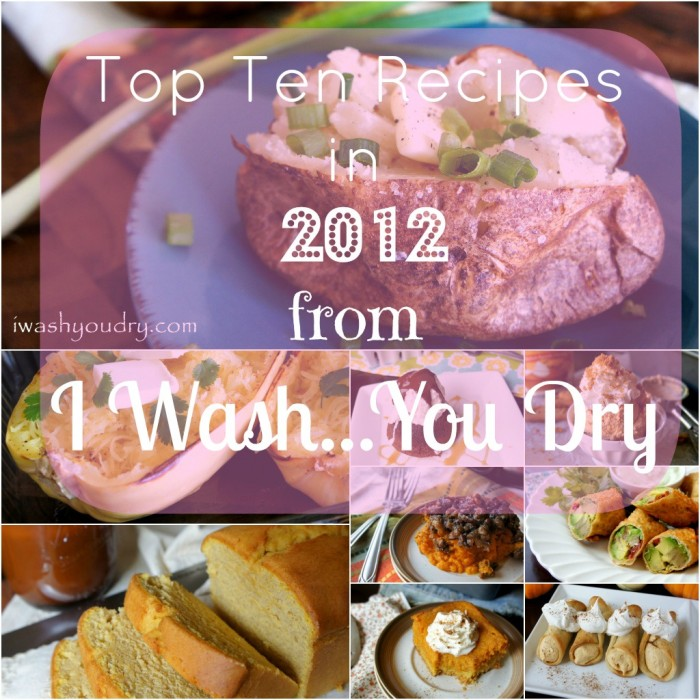 """A grid of pictures with food and the title, \""""Top Ten Recipes in 2012 from I Wash...You Dry\"""""""
