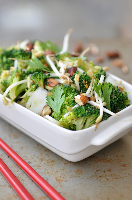 Close up of Asian Broccoli Salad in a bowl
