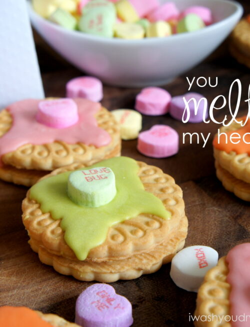 A close up of You Melt My Heart Cookie Valentines