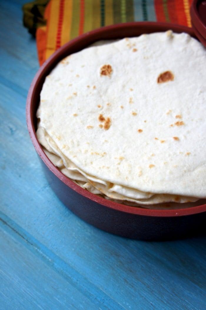 Tortillas in a torilla warmer