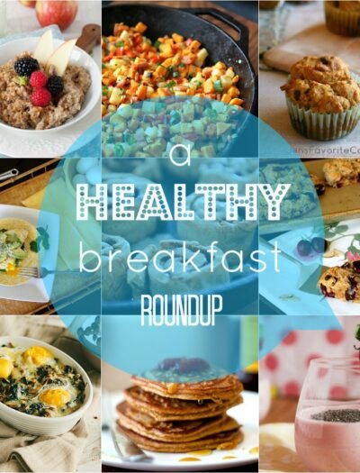 """A grid of food pictures with the title """"a HEALTHY breakfast ROUNDUP"""""""