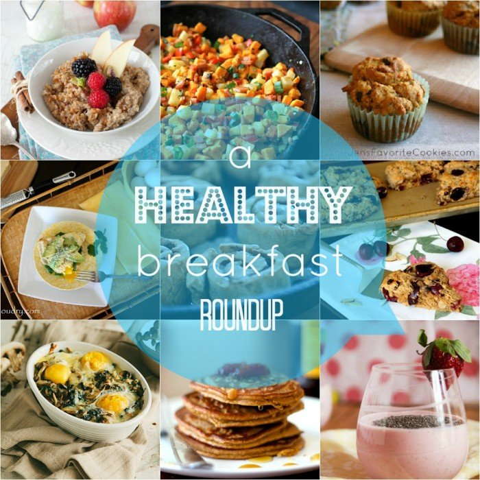 """A grid of food pictures with the title \""""a HEALTHY breakfast ROUNDUP\"""""""
