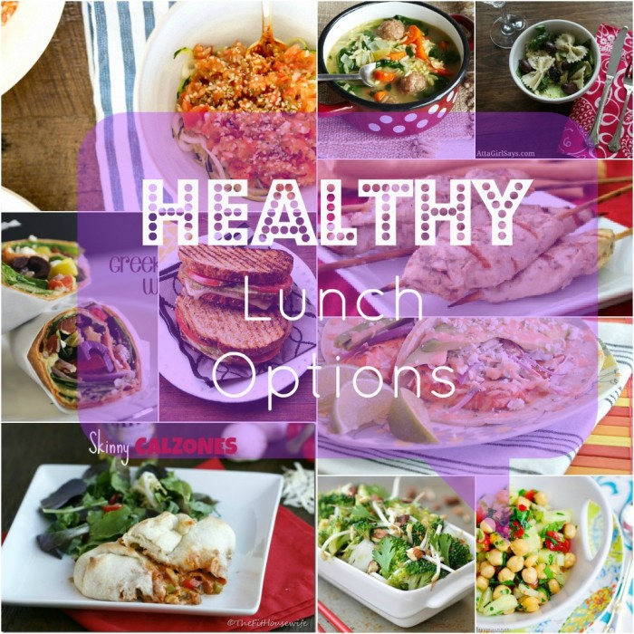 """A grid of food pictures with the title \""""Healthy Lunch Options\"""""""