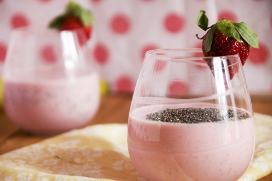 A close up of a smoothie in a glass cup