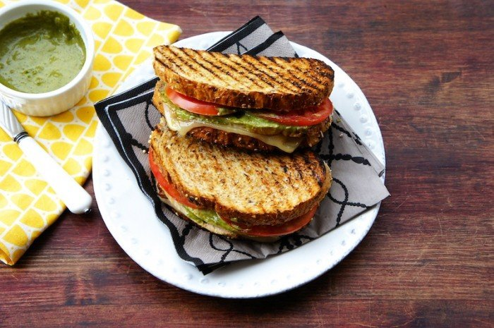 A plate with two grilled Turkey Sandwiches