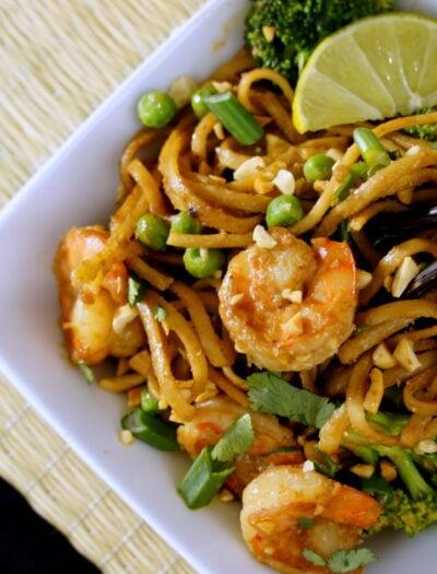 A close up of a bowl of Shrimp Pad Thai