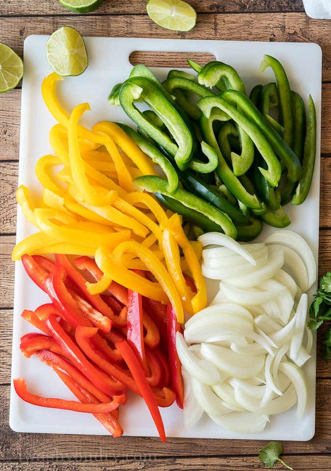 Use sweet bell peppers and white onions for fajita peppers