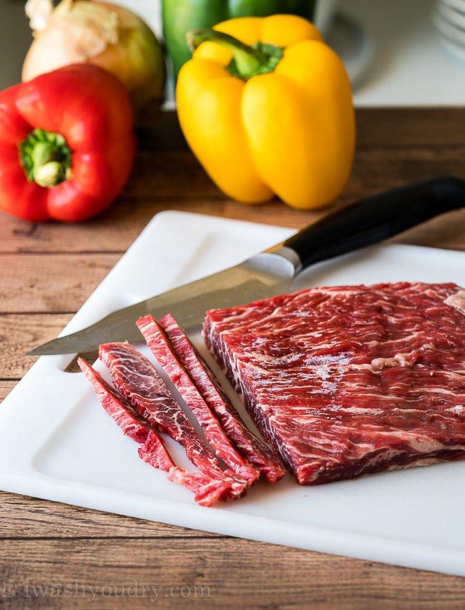 How to cut thin strips of steak for fajitas.