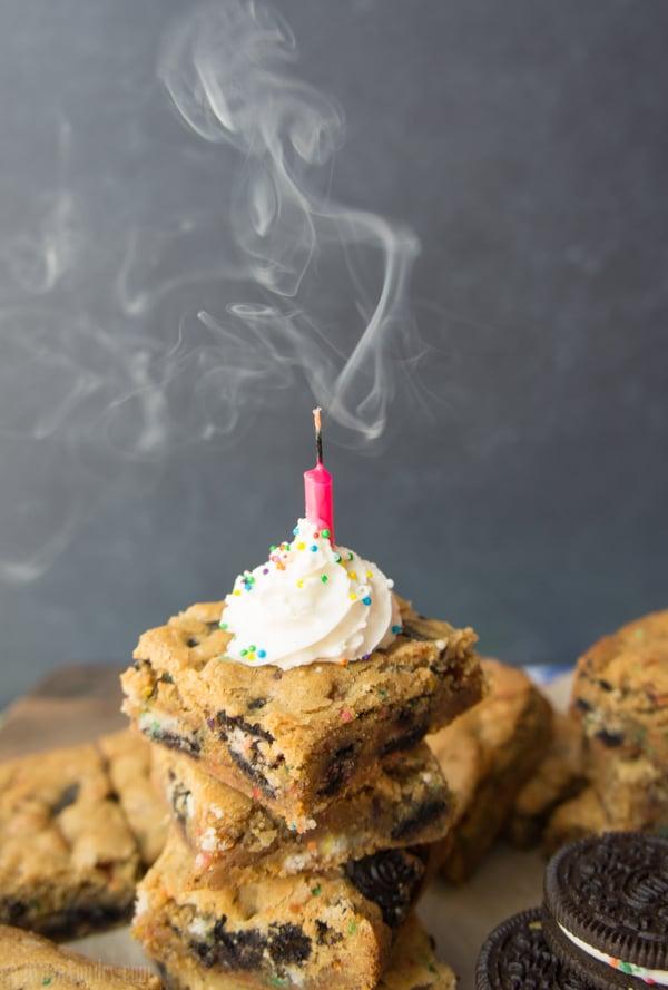 Oreo Birthday Cake Blondies