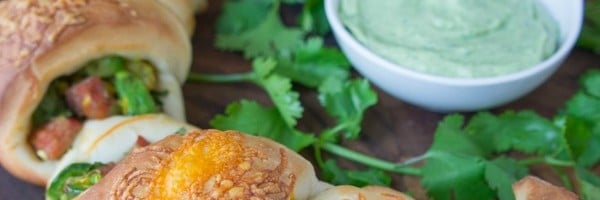 Avocado and Chorizo Stuffed Party Rolls with Creamy Avocado Cilantro Ranch Dip