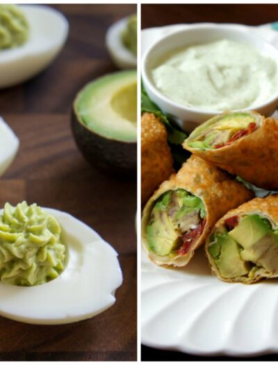 Two pictures. Left: Deviled eggs with an avocado based filling. Right: A close up of a plate with egg rolls stuffed with avocado