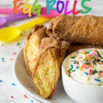 These Birthday Cake Egg Rolls are so fun! They taste like a giant churro that's been stuffed with birthday cake! YUM!