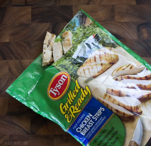 A bag of Grilled and Ready Chicken Breast Strips